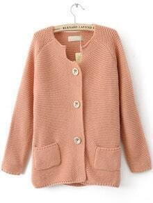 Pink Long Sleeve Pockets Embellished Cardigan Sweater