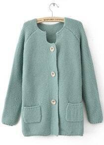Green Long Sleeve Pockets Embellished Cardigan Sweater