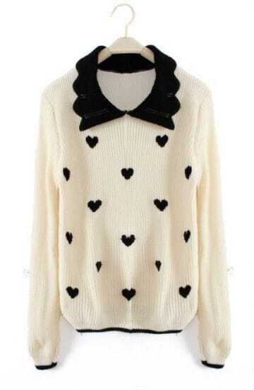Beige Lapel Long Sleeve Heart Print Pullovers Sweater