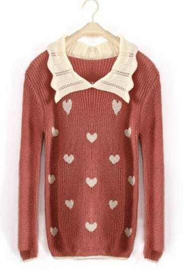 Red Lapel Long Sleeve Heart Print Pullovers Sweater