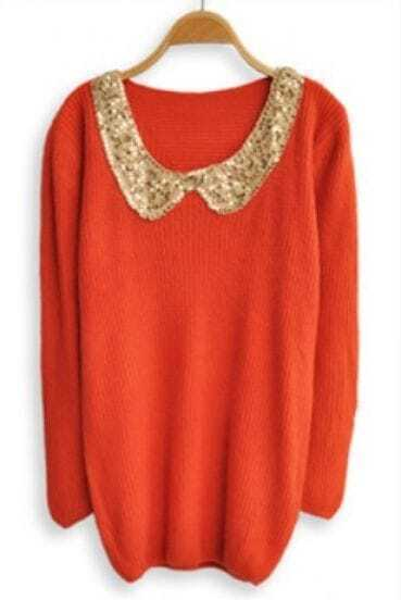 Orange Sequined Lapel Long Sleeve Pullovers Sweater