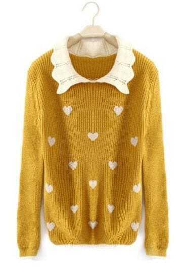 Yellow Lapel Long Sleeve Heart Print Pullovers Sweater