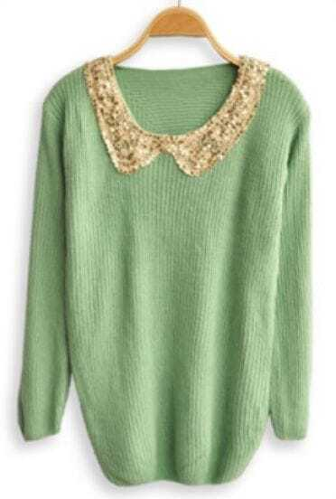 Green Sequined Lapel Long Sleeve Pullovers Sweater