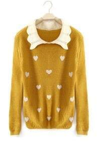 Yellow Lapel Long Sleeve Heart Print Pullovers Sweater