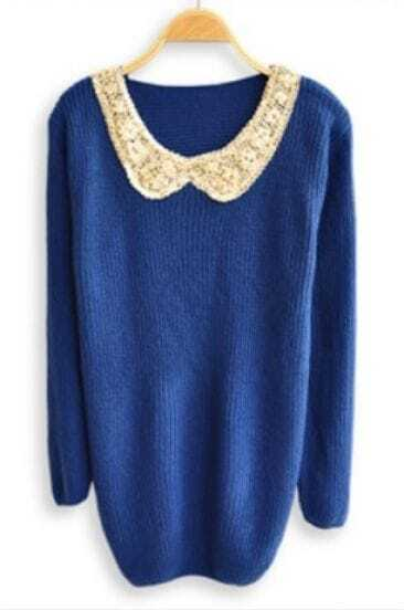 Blue Sequined Lapel Long Sleeve Pullovers Sweater