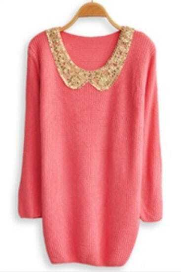 Pink Lapel Long Sleeve Sequined Pullovers Sweater