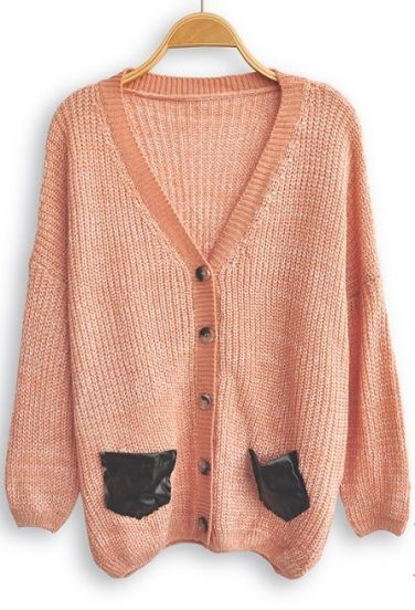Pink Long Sleeve Contrast Leather Pockets Cardigan Sweater