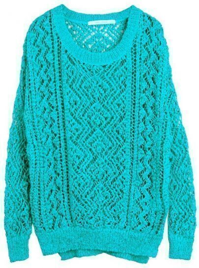 Turquoise Long Sleeve Hollow Pullovers Sweater