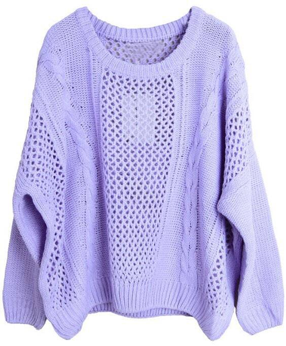 Purple Long Sleeve Hollow Loose Pullovers Sweater -SheIn(Sheinside)