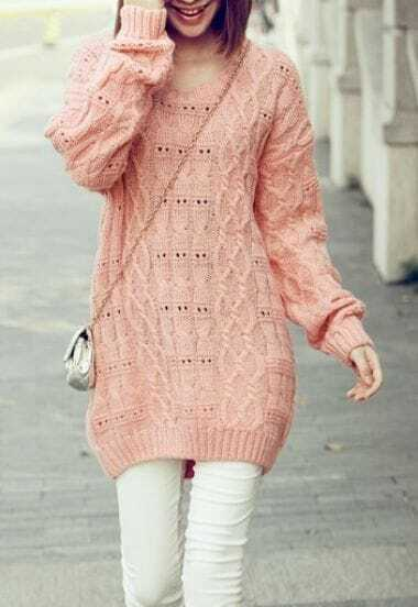 Pink Long Sleeve Hollow Lace Backless Pullovers Sweater
