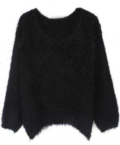 Black Round Neck Long Sleeve Villus Pullovers Sweater