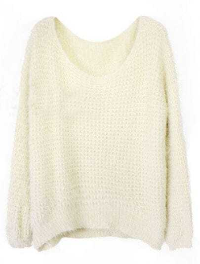 Beige Round Neck Long Sleeve Villus Pullovers Sweater