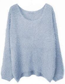 Grey Round Neck Long Sleeve Villus Pullovers Sweater