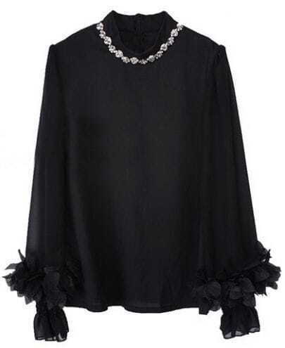 Black Long Sleeve Flower Rhinestone Chiffon Shirt