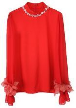 Red Long Sleeve Flower Rhinestone Chiffon Shirt