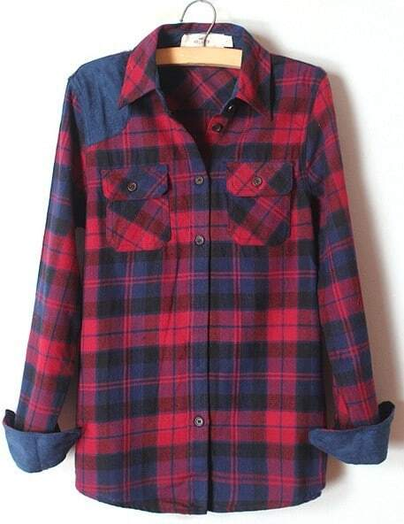Blue Lapel Long Sleeve Plaid Pockets Shirt -SheIn(Sheinside)