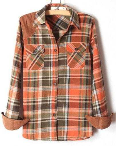 Orange Lapel Long Sleeve Plaid Pockets Shirt