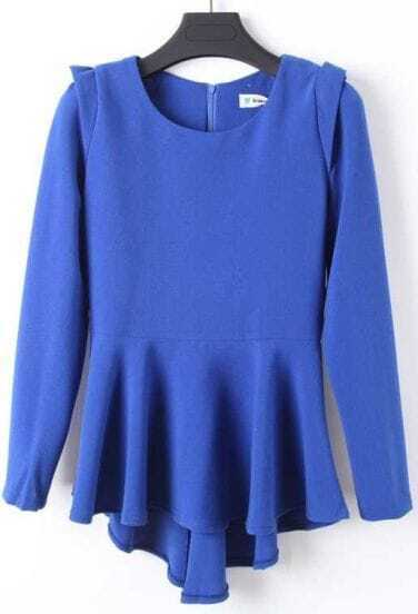 Blue Round Neck Long Sleeve Ruffles Blouse
