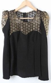 Black Long Sleeve Contrast Lace Blouse