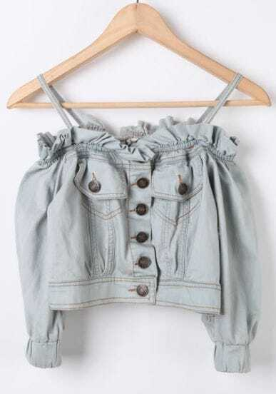 Blue Spaghetti Strap Half Sleeve Crop Denim Blouse