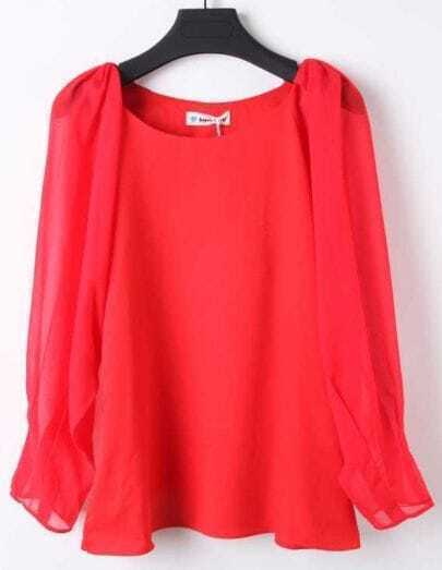 Wine Red Round Neck Long Sleeve Chiffon Blouse