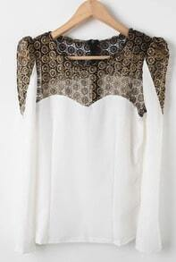 White Long Sleeve Contrast Lace Blouse