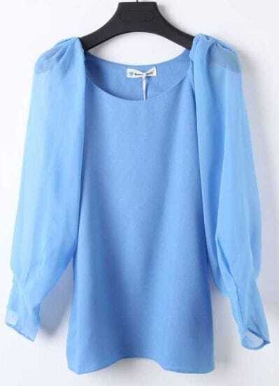 Blue Round Neck Long Sleeve Chiffon Blouse