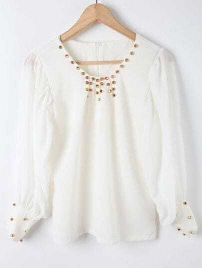 White Long Sleeve Rivet Embellished Chiffon Blouse