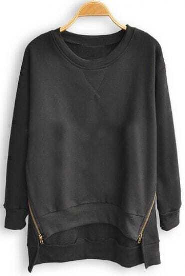 Black Batwing Long Sleeve Asymmetrical Pullovers Sweatshirt