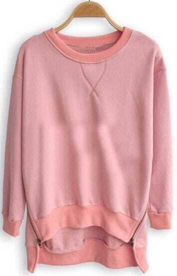 Pink Batwing Long Sleeve Asymmetrical Pullovers Sweatshirt