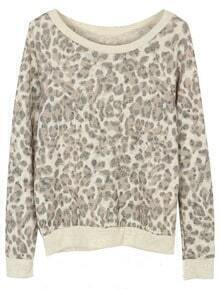 Leopard Long Sleeve Contrast Trims Sweatshirt