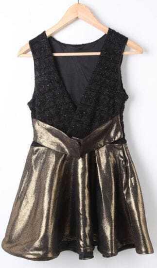 Black Gold V Neck High Waist Ruffles Dress