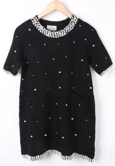 Black Short Sleeve Beading Rhinestone Dress