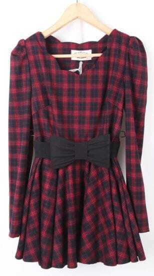 Red Long Sleeve Plaid Drawstring Waist Bow Dress