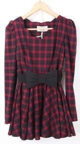 Red Long Sleeve Plaid Drawstring Waist Bow Dress