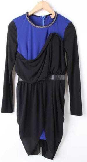 Black Blue Long Sleeve Beading Chain Chiffon Dress
