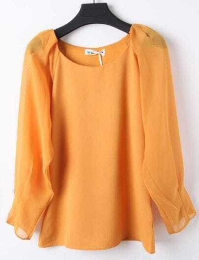 Yellow Round Neck Long Sleeve Chiffon Blouse
