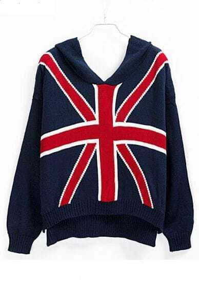 Navy Hooded Long Sleeve Union Jack Flag Print Sweater