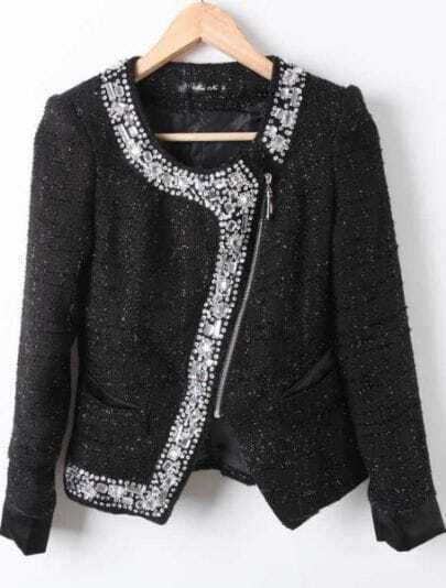 Black Long Sleeve Pearls Rhinestone Zipper Coat