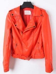 Orange Lapel Long Sleeve Zipper PU Leather Coat