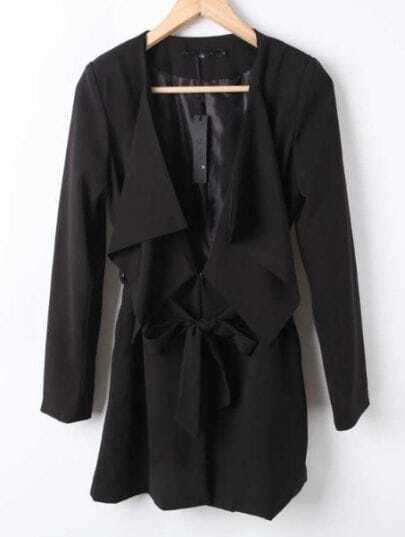Black Long Sleeve Drawstring Waist Bow Trench Coat
