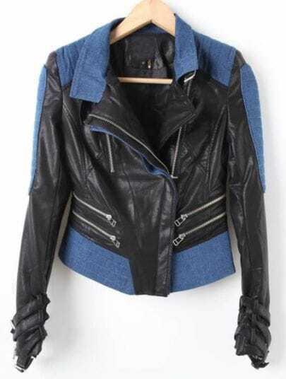 Black Long Sleeve Contrast Denim Crop PU Coat