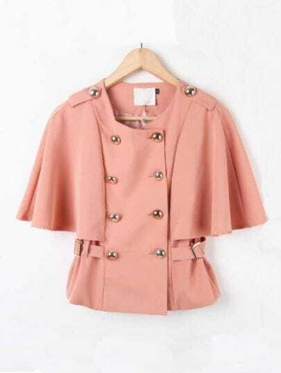 Pink Batwing Sleeve Epaulet Buttons Cape Coat