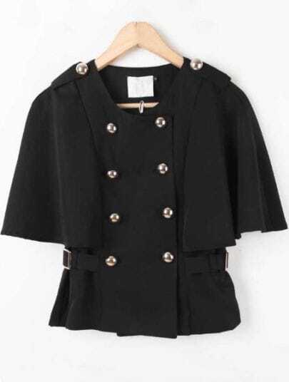 Black Batwing Sleeve Epaulet Buttons Cape Coat