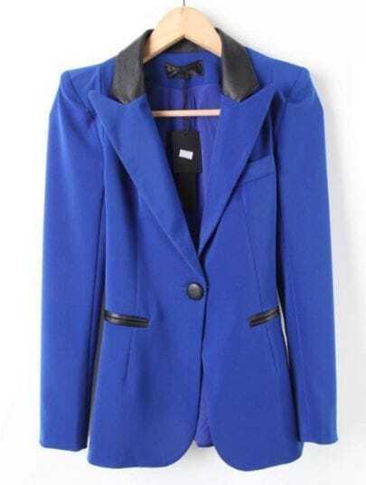 Blue PU Leather Lapel Long Sleeve Pockets Suit