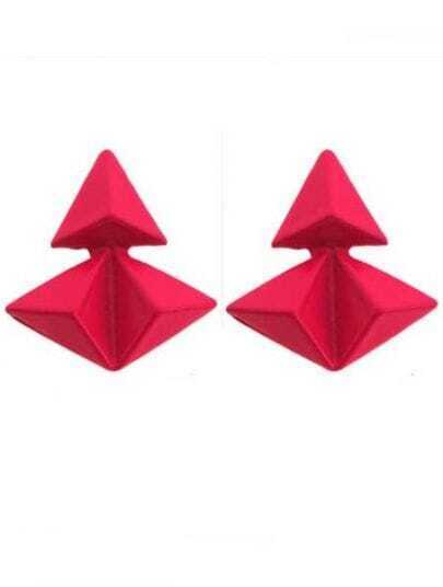 Red Triangular Pyramid Splice Stud Earrings