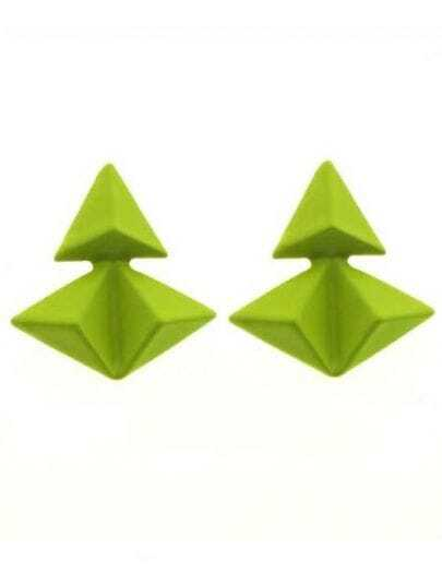 Yellow Triangular Pyramid Splice Stud Earrings
