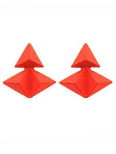 Orange Triangular Pyramid Splice Stud Earrings
