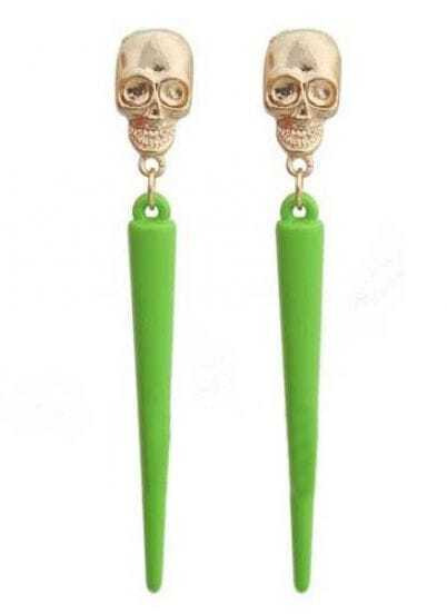 Green Spike Gold Skull Stud Earrings