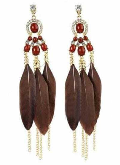 Dark Brown Feather Tassel Chain Dangle Earrings
